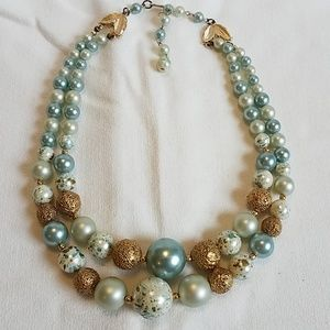 Vintage 1950s Necklace - Blue Gold 2 Strand